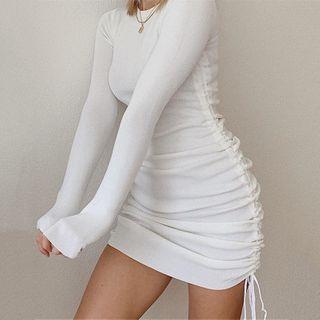 Baratone - Long Sleeve Side-String Dress