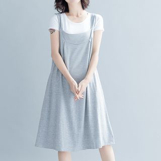 Fashion Street - Stripe Pinafore A-Line Dress