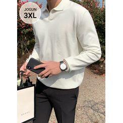 JOGUNSHOP - Open-Placket Knit Polo Shirt