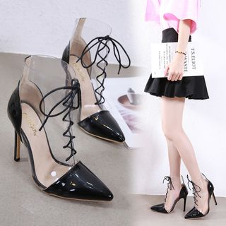 Niuna - Transparent Lace-Up High-Heel Ankle Boots