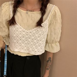 Moon City - Short-Sleeve Blouse / Spaghetti Strap Lace Top