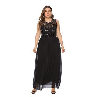 Chelsie Chic - Plus Size Sleeveless Lace Panel Chiffon Dress