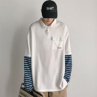 Tiaota - Mock Two-Piece Long-Sleeve Striped Paneled Polo Shirt