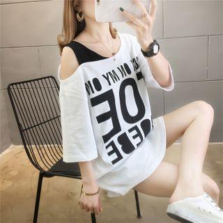 Jewie - Cold Shoulder Lettering T-Shirt