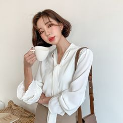 MERONGSHOP - Tie-Neck Frill-Cuff Blouse