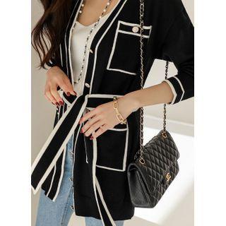 Styleonme(スタイルオンミー) - Contrast-Trim Pocket-Detail Long Cardigan With Sash