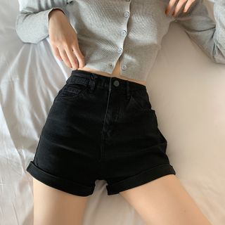 Chisan - High-Waist Denim Shorts
