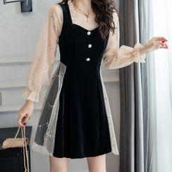 Bobin - Mock Two-Piece Long-Sleeve A-Line Dress