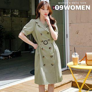 Seoul Fashion - PLUS SIZE Puff-Sleeve Belted Trench Coatdress