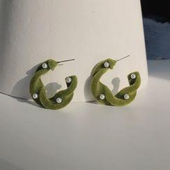 EBIZA - 丝绒开口圈环耳环 / 夹式耳环