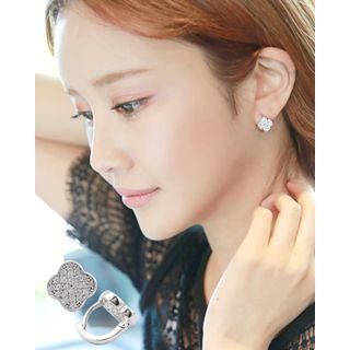 Miss21 Korea - Rhinestone Clover Mini Hoop Earrings