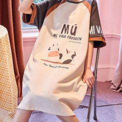Lion Sniff - Short-Sleeve  Cow Print Loungewear Dress