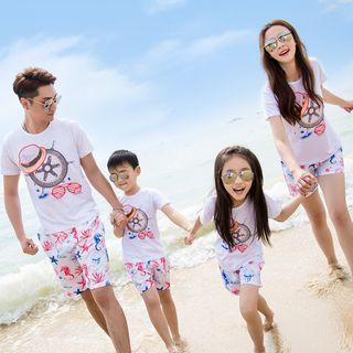 Hinode - 親子裝套裝: 船輪印花短袖T恤 + 印花短褲