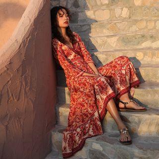 Lydiah - 3/4-Sleeve Printed Maxi A-Line Dress