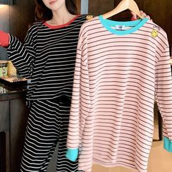 Endormi - Pajama Set: Long-Sleeve Striped Smiley Face Embroidered T-Shirt + Pants