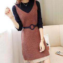 Ichimiu - Long-Sleeve Mock Two-Piece Mini A-Line Knit Dress