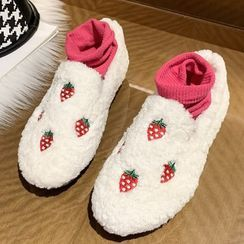 Weiya - Strawberry Embroidered Slip-Ons