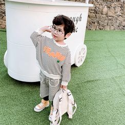 Pinty - Kids Set: Striped Pullover + Knee-Length Shorts