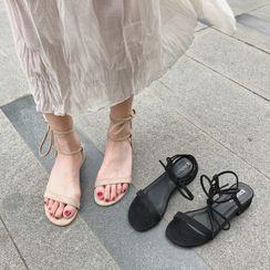 COCUNA - Block Heel Tie Ankle Sandals