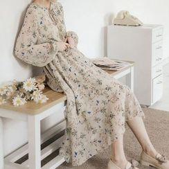 Paila - Floral Print Long-Sleeve Midi Chiffon Dress