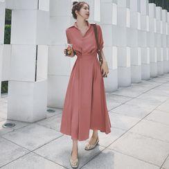 Jinyo - Collared Long-Sleeve Midi A-Line Dress
