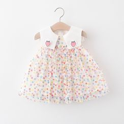 Cuckoo - Kids Collared Dotted Sleeveless A-Line Dress