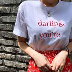 DEEPNY - 'darling' Embroidered Cotton T-Shirt