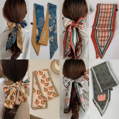 Bakele - Print Fabric Narrow Scarf Hair Tie