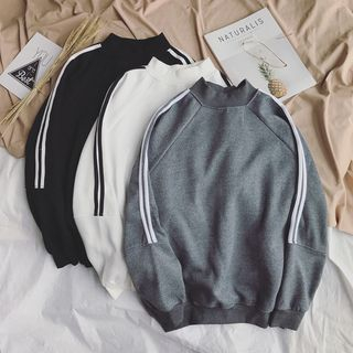 JUN.LEE - Stripe-Trim Mock Neck Sweatshirt