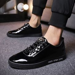 Lion Tips - Patent Lettering Lace-Up Loafers