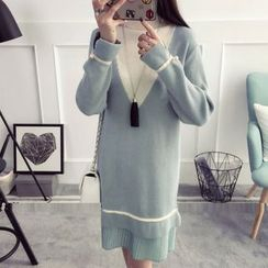 Hiccup(ヒカップ) - Maternity Color Block Long-Sleeve Knit Dress
