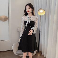 Petit Lace - Mock Two-Piece Tie-Neck Dress