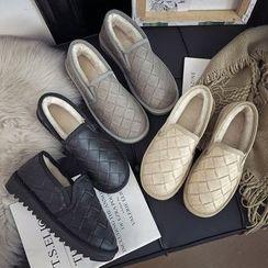 Nikao - Couple Matching Fleece-Lined Argyle Slip-Ons
