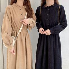 Rorah(ロラ) - Long-Sleeve Frill Trim A-Line Dress