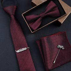 Prodigy - 套装: 印花领带 + 蝴蝶结领带 + 口袋巾 + 领带夹 + 衣领饰针