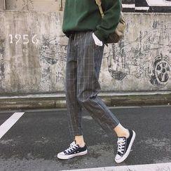 Onespark - 格子九分直身裤