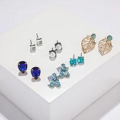 Yongge - 6-pair Set: Faux Pearl / Rhinestone Earring (assorted designs)