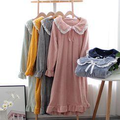 Dogini - Collared Long-Sleeve Pajama Dress