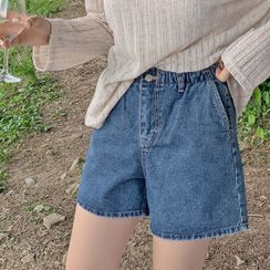 HOTPING - Band-Waist Denim Shorts