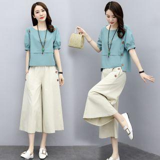 Jeonseon - 套装: 泡泡袖麻布衬衫 + 七分宽腿裤