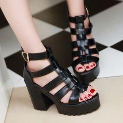 Freesia - Platform Block Heel Roman Sandals