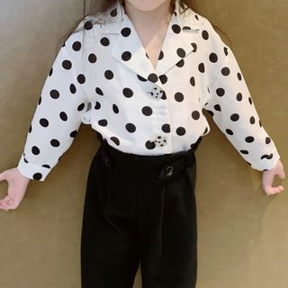 AMIS - Family Matching Dotted Chiffon Long-Sleeve Shirt