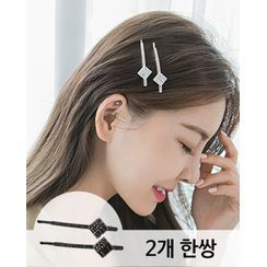 Miss21 Korea - Rhinestone Hair Pin (Set of 2)