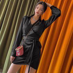 LIPHOP - Tie-Waist Satin Mini Wrap Dress