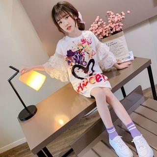 Qin Qin - Kids Lace Sleeve Printed Printed T-Shirt Dress