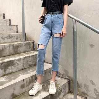 Moon City - Ripped Cropped Straight-Fit Jeans
