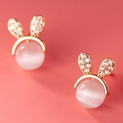 A'ROCH - 小兔水钻猫眼石纯银耳环