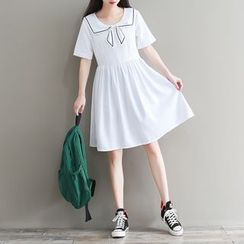 Snow Angel - Collared Short-Sleeve A-line Dress