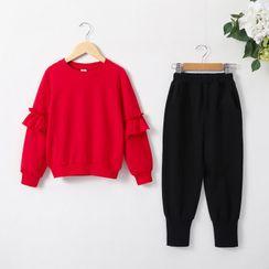 Cuckoo - Set: Kids Ruffled Sweater + Jogger Pants