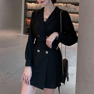 Fromage - Double Breasted Long-Sleeve Chiffon Dress